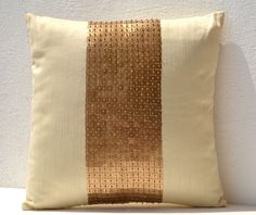 Gold Pillow Covers - Cream Silk Pillow - Gold Sequin Cushion Covers   AmoreBeaute - Housewares on ArtFire