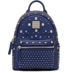 MCM Bebe Boo Backpack ($1,450) ❤ liked on Polyvore featuring bags, backpacks, blue backpack, mini bag, knapsack bags, mini rucksack and miniature backpack