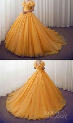 long prom dresses Two Piece Bridesmaid Cinderella Meets with Beauty and the Beast to Take The Original Style to the Next Level! Who's a Disney Lover too weddingdresses Cinderella customdresses cocomelody beautifulquinceaneradresses Sweet 16 Dresses, Elegant Dresses, Pretty Dresses, Formal Dresses, Yellow Wedding Dresses, Casual Dresses, Fashion Dresses, Bridesmaid Dresses, Robes Disney