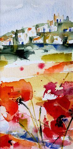 Triptyque Provençal 01 - Painting,  20x10 cm ©2015 Véronique Piaser-Moyen tarafından -  Boyama