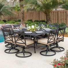 The Brilliant 9 Piece Outdoor Dining Set Carrolton 9 Piece Cast Aluminum Patio  Dining Set With Swivel Is One Of The Pictures That Are Related To The Pictur