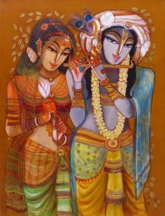 Online platform for Contemporary and Modern Art, Paintings, where next generation artists have showcased varied forms of contemporary art in all mediums. Radha Krishna Wallpaper, Lord Krishna Images, Radha Krishna Pictures, Painting Corner, Art Corner, Krishna Painting, Krishna Art, Indian Art Paintings, Fantasy Paintings