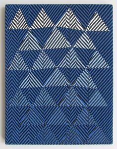 """herringbone gone mad.  Samantha Bittman: """"Untitled"""" ~ blue & white triangles."""