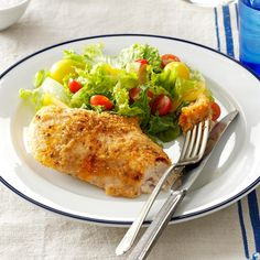 Garlic Lover's Chicken Recipe -The garlic and lemon are great together on this breaded chicken. I've served this several times for special-occasion dinners. —Janice Steinmetz, Somers, Connecticut