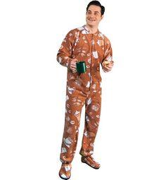 PajamaCity Coffee Lovers Print Polar Fleece Drop Seat Footy Pajamas for Teens and Adults