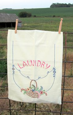 Vintage Embroidery Laundry Bag