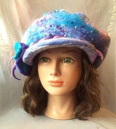 One of a kind newsboy hat Felted ladies  nunofelted nunofelt blue periwinkle lilac lilac warm  winter hat