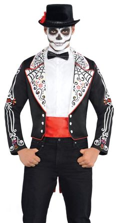 Adult Mexican Day Of The Dead Tailcoat Mens Halloween Fancy Dress Costume Outfit