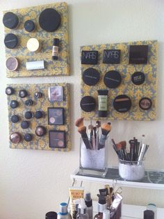 After being inspired by the magnetic makeup boards all over pinterest, I decided to squeeze in a little project before nursing school gets crazy again. It did take me an extra day to complete (I originally wanted to use a large picture frame) because I couldn't find frames that I liked and didn't have to time to paint ugly ones, so I found these 12x12in canvases, attached sheet metal to the fronts, and covered them with fabric. After sticking magnets to all my makeup, I'm glad it's finally…