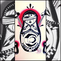 captaincha0s captainchaosartworks.etsy.com THE MATRYOSHKA #art #artwork #print #painting #watercolor #tattoo #tattooart #flashtattoo #ink #inked #tattooed #tattoolife #poster #matryoshka #russiandoll #love #moon #blood #blind #daggers