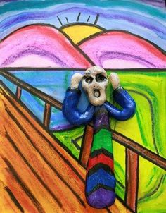 The scream for elementary kids (use model magic or cloud clay)