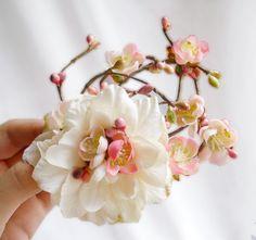 ivory flower hair clip, wedding hair accessory, bridal hair flower - ETOLIA - pink flower, cherry blossom, rustic wedding. $62.00, via Etsy.