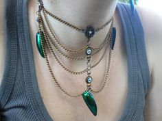 victorian jewel  beetle choker necklace vintage by gildedingypsy, $42.00