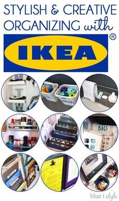 Stylish and creative organizing ideas using products from IKEA. In the kitchen, the bathroom, the bedroom, and the playroom. Organizing for adults and kids alike.