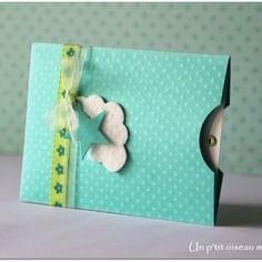 Faire-part de naissance pochette verte fille ou garçon