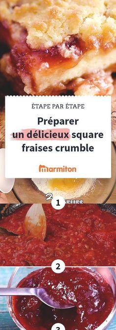 Recette du gâteau square fraises crumble, une délicieuse recette à dévorer pour le dessert ou le goûter #recette #marmiton #recettemarmiton #cuisine #fraise #recettefraise #crumble #fruit #dessert