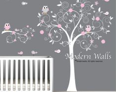 Stickers Autocollants vinyle Wall Decal arbre branche hiboux