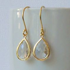Clear Crystal Gold Earrings Crystal Clear Jewelry by PeriniDesigns, $19.00