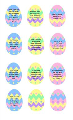 Easter Egg Hunt Clues {with free printable! Not your typical Egg Hunt. A FREE printable set of Easter Egg Hunt clues for an easy indoor Scavenger Hunt - great for preschoolers, kids, teenagers and even adults! Easter Egg Hunt Clues, Easter Eggs, Easter Egg Hunt Ideas, Easter Ideas For Kids, Easter Activities For Kids, Children Activities, Holiday Activities, Kids Fun, Scavenger Hunt Clues