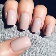 20x Hand Painted Nude Pink Short Square False Nails