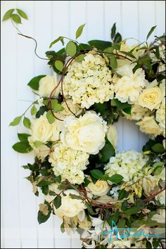 A wedding wreath is a cute and simple idea for wedding decor, for any theme and season. Lush floral, fir branches, greenery and leaves. Wreaths For Front Door, Door Wreaths, Grapevine Wreath, Tulle Wreath, Burlap Wreaths, Wedding Wreaths, Wedding Flowers, Wedding Decor, Orange County