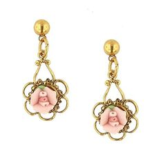 Gold-Tone Pink Porcelain Rose Drop EarringsA Victorian style gold-toned earring that features a light pink rose made of genuine porcelain. A delicate filigree design adds a whimsical touch to this classic design. Pink Earrings, Vintage Earrings, Flower Earrings, Rose Jewelry, Jewelry Sets, Women's Jewelry, Jewlery, Victorian Jewelry, Antique Jewelry