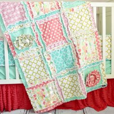 Ruffle Flower Crib Bedding - Gold, Coral, Mint Nursery Crib Set