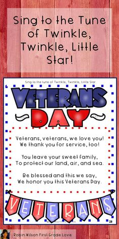 Veterans Day Activities This Veterans Day Activities packet will help your young students understand about Veterans Day and honor those that have served our country. There are information posters for teaching Veterans Day, and five bra Veterans Day Songs, Letters To Veterans, Veterans Day Poem, Happy Veterans Day Quotes, Veterans Day Thank You, Veterans Day Activities, Classroom Activities, Blessed Life Quotes, News Articles For Kids