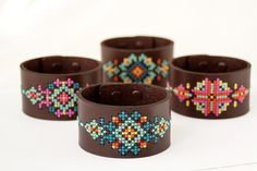 DIY Cross Stitch Kit - Leather Cuff with Southwestern Inspired Design by RedGateStitchery $39