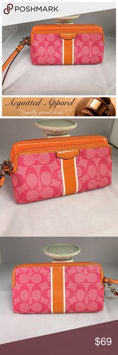 Large Coach Wristlet Large coach Wristlet wallet with multi card spots and two zipper pouches. Gently pre loved. Coach Bags Clutches & Wristlets