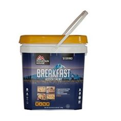 Breakfast Bucket has a delicious selection of four freeze dried breakfasts in a super lightweight, reusable bucket, that can be efficiently stored and organized for your emergency food supply, camping kit or long-term food storage.