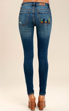Cacti On You Medium Wash Embroidered Skinny Jeans via @bestchicfashion