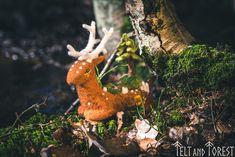 Forest Spirit Pine, deer, art doll, spring, ooak sculpture, reindeer, forest art by FeltandForest on Etsy