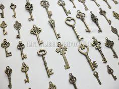 49pcs vintage crown keys antique skeleton keys by LittleHardware