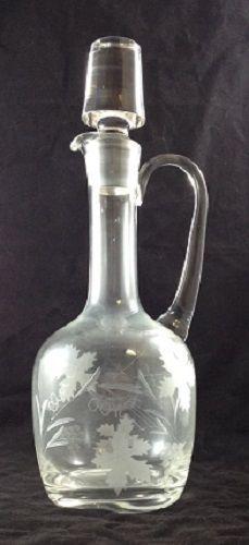 Glass Decanter Etched Grapes Grape Leaves Wine Decanter Liquor Decanter   eBay