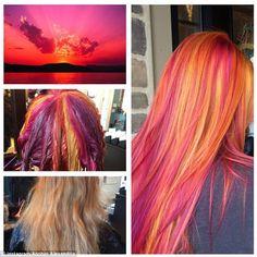 Hair Color Blue, Cool Hair Color, Weird Hair Colors, Galaxy Hair Color, Bright Hair Colors, Sunset Hair, Hair Color Techniques, Hair Colouring Techniques, Coloured Hair