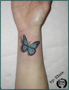 tattoo by Blaze /zentattoozagreb - tattoos -Blue butterfly; tattoo by Blaze /zentattoozagreb - tattoos - Butterfly Tattoo Cover Up, Butterfly Tattoos For Women, Wrist Tattoos For Women, Butterfly Tattoo Designs, Back Tattoo Women, Morpho Butterfly, Blue Morpho, Arm Tattoo, Sleeve Tattoos