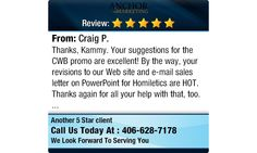 Thanks, Kammy. Your suggestions for the CWB promo are excellent! By the way, your...