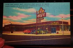 40s PC Herb and Dodes Hut Restaurant Fresno CA Road to Yosemite Old Cars
