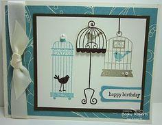 Aviary stamp set card ~ Stampin UP