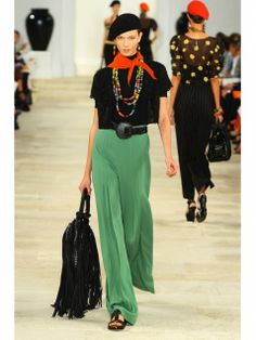 Ralph Lauren jade green high-waisted pants and black top with beaded necklaces shown during Mercedes Benz Fashion Week Spring/Summer 2013 in New York City. #models #fashion #NYFW