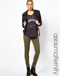 Pregnant Style: Maternity Exclusive Elgin Jeans With Stretch Waistband in Khaki
