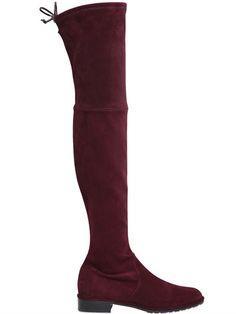 STUART WEITZMAN 30Mm Lowland Stretch Suede Boots, Burgundy. #stuartweitzman #shoes #boots