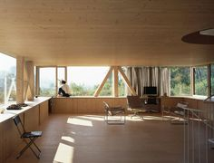 Embedded in a secluded corner of Balsthal, Switzerland, Swiss architect Pascal Flammer's timber frame house. Contemporary Architecture, Interior Architecture, Interior Design, Timber House, House Goals, Ground Floor, Home Projects, Small Spaces, Beautiful Homes