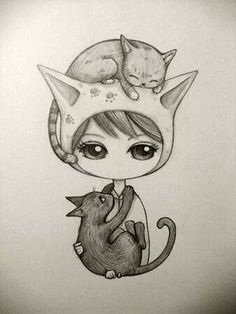 Kai Fine Art is an art website, shows painting and illustration works all over the world. Cute Sketches, Drawing Sketches, Cat Drawing, Painting & Drawing, Dibujos Cute, Cat Art, Cool Drawings, Amazing Art, Chibi