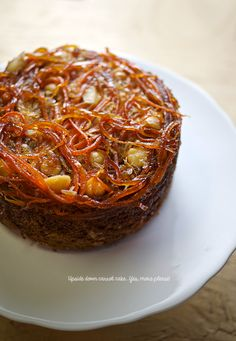 Stunning Upside Down Carrot Cake with Ginger, Coconut & Macadamia Nuts