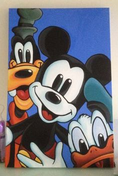 68 New Ideas For Disney Art Painting Canvases Mickey Mouse Disney Canvas Paintings, Disney Canvas Art, Art Disney, Mini Canvas Art, Disney Kunst, Kids Canvas, Disney Mickey, Canvas Ideas, Painting Canvas