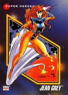 """comicbooktradingcards: """" Marvel Universe - Series 3 (1992) #66 Jean Grey """""""