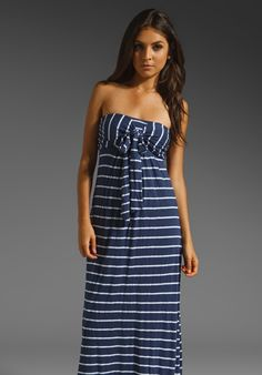 Splendid Venice Stripe Maxi Dress in Denim
