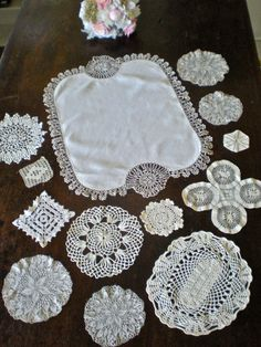 Doily LOT 13 Vintage Doilies Ecru Ivory Antique Tatting with LINEN, Gorgeous Wedding Cake Table Centerpiece Display, Hand Crocheted LACE by chloeswirl on Etsy